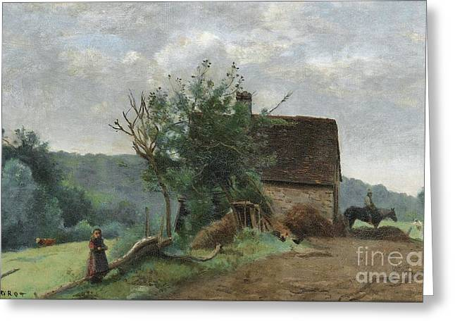 Barn Yard Greeting Cards - Little Girl And A Cavalier In A Barn Yard Greeting Card by Jean-baptiste-camille Corot