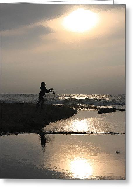 Babbling Digital Art Greeting Cards - Little Girl Fishing by the Shore Greeting Card by Christopher Purcell