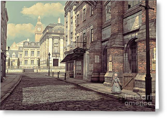 Long Skirt Greeting Cards - Little Girl in London Greeting Card by Jutta Maria Pusl