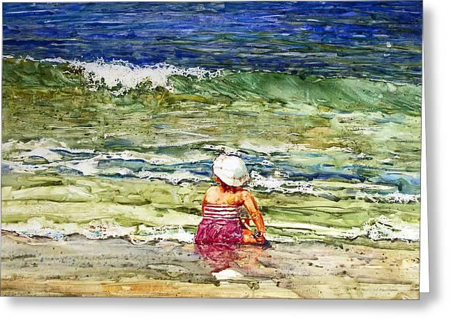 Little Girl On The Beach Greeting Card by Shirley Sykes Bracken