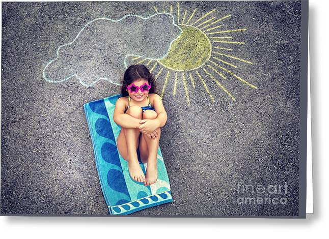 Person Greeting Cards - Little girl relaxing on asphalt Greeting Card by Anna Omelchenko