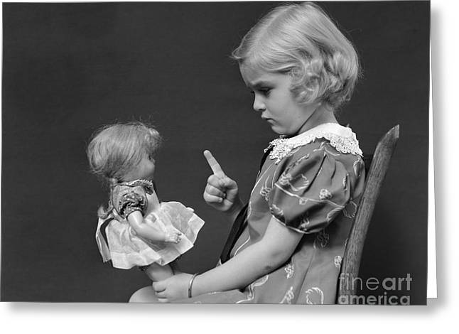 Little Girl Scolding Doll, C.1930s Greeting Card by H. Armstrong Roberts/ClassicStock