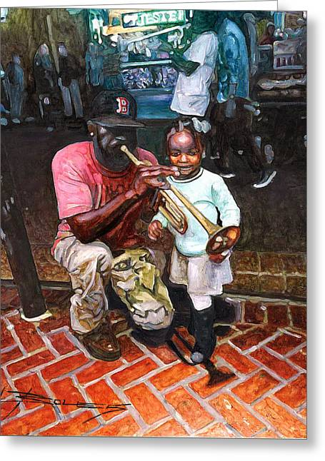 Little Girl With Trumpet Player On Bourbon Greeting Card by John Boles