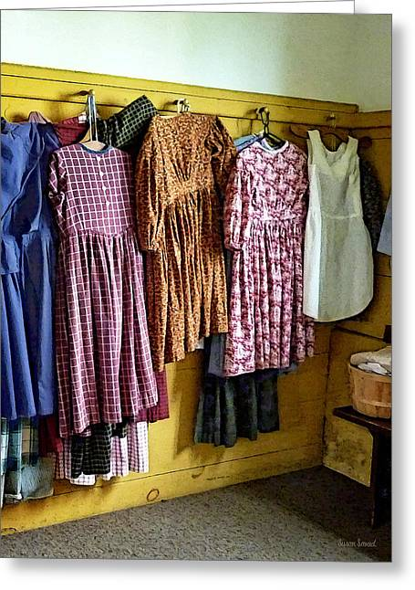 Dresses Greeting Cards - Little Girls Gathered Dresses Greeting Card by Susan Savad