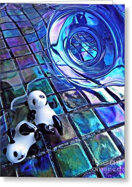 Sarah Loft Greeting Cards - Little Glass Pandas 13 Greeting Card by Sarah Loft