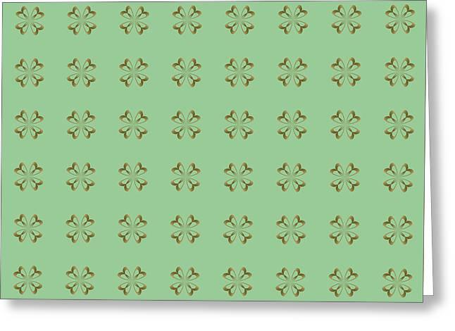 Festivities Greeting Cards - Little Gold Flowers on Mint Greeting Card by Lena Kouneva