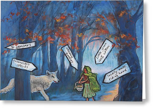 Little Green Riding Hood Greeting Card by Holly Stone