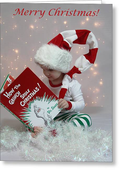 Twinkle Greeting Cards - Little Grinch Greeting Card by Tammy Pool