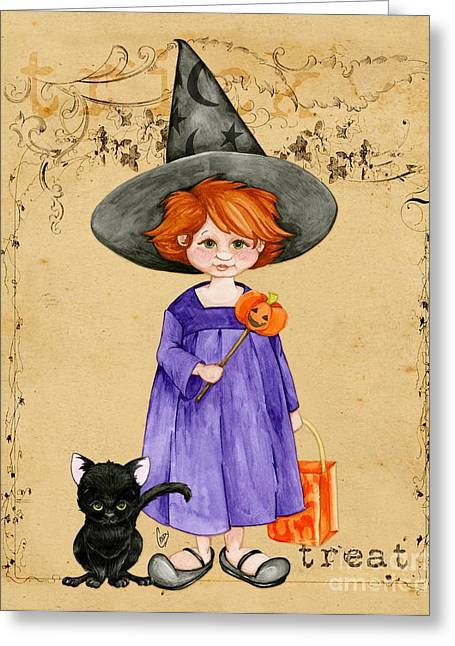Halloween Greeting Cards - Little Halloween Witch Greeting Card by Cindy Garber Iverson
