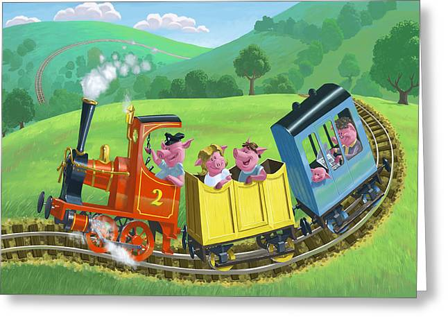 Little Happy Pigs On Train Journey Greeting Card by Martin Davey