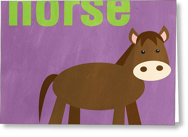 Purple Mixed Media Greeting Cards - Little Horse Greeting Card by Linda Woods