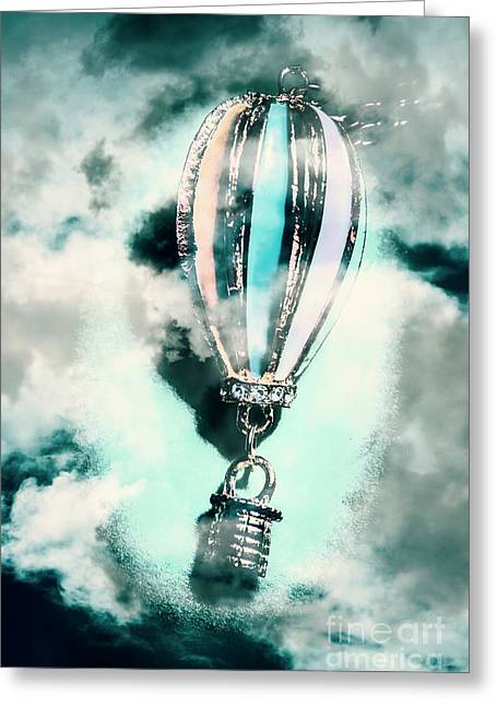 Little Hot Air Balloon Pendant And Clouds Greeting Card by Jorgo Photography - Wall Art Gallery