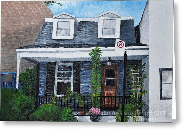 Montreal Life Greeting Cards - Little House in The City Greeting Card by Reb Frost