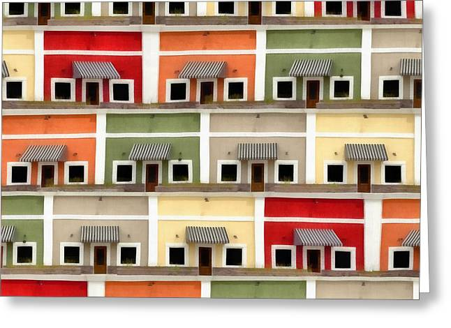 Town Square Greeting Cards - Little Houses Greeting Card by Edward Fielding