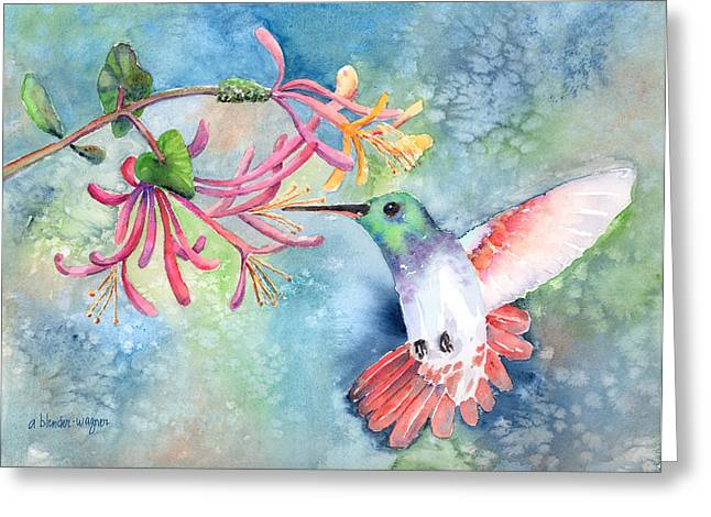 Humming Birds Greeting Cards - Little Hummingbird Greeting Card by Arline Wagner