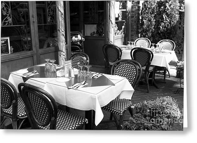 Italian Restaurant Greeting Cards - Little Italy Table Setting mono Greeting Card by John Rizzuto