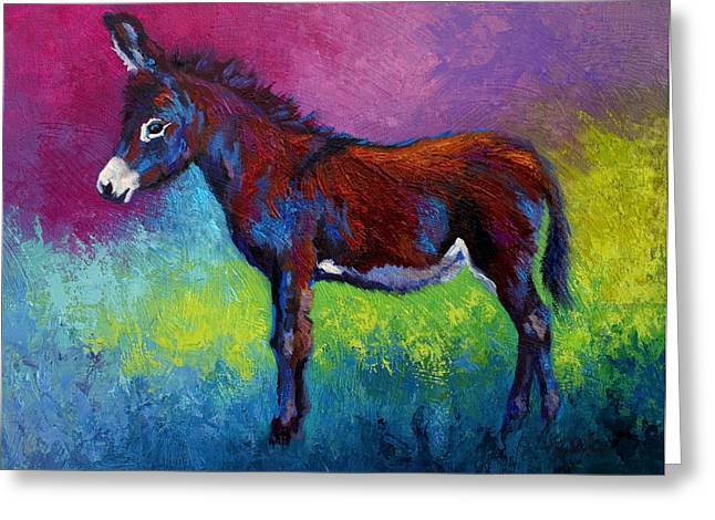 Little Jenny - Burro Greeting Card by Marion Rose