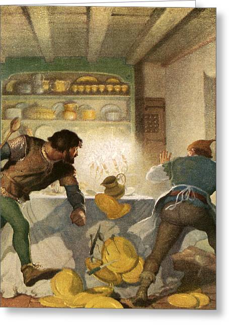 Little John Fights With The Cook In The Sheriff's House Greeting Card by Newell Convers Wyeth