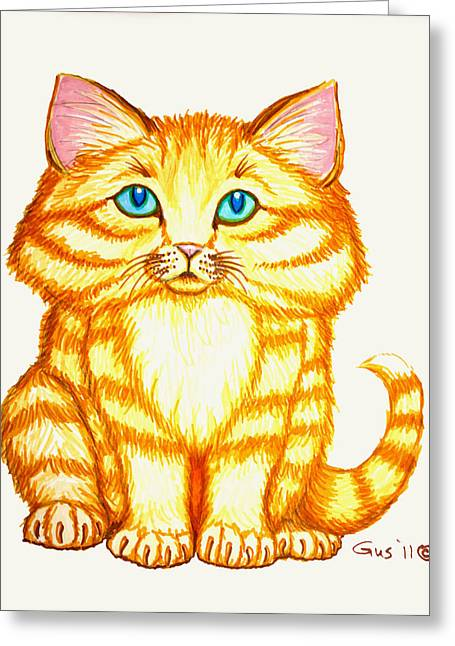 Cute Kitten Drawings Greeting Cards - Little Kitten Greeting Card by Nick Gustafson