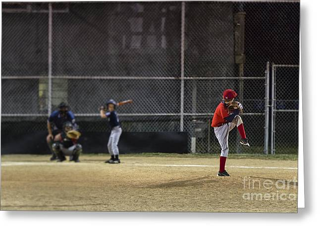 Youth League Greeting Cards - Little League Baseball Greeting Card by John Greim