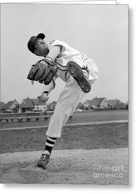 Little League Pitcher, 1950s Greeting Card by Debrocke/ClassicStock