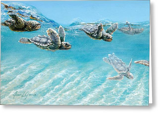 Juvenile Paintings Greeting Cards - Little Loggerheads Greeting Card by Joan Garcia