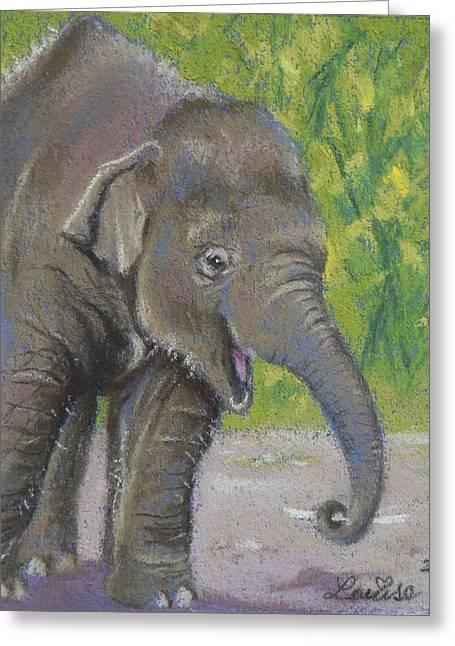 Elephant Pastels Greeting Cards - Little Luk Chai Greeting Card by Louise Green