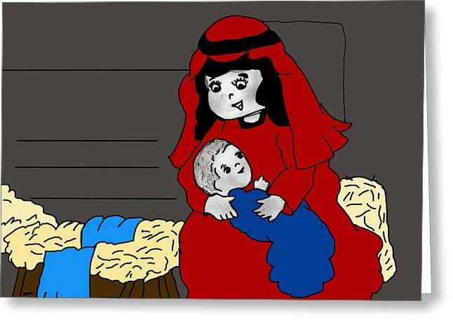 Little Mary And Baby Jesus In Red And Blue Greeting Card by Sonya Chalmers
