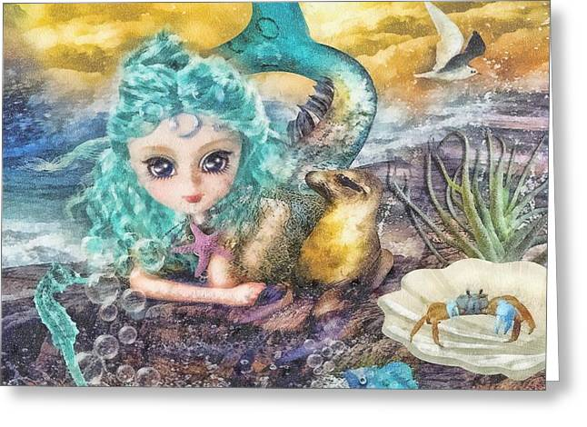 Calm Waters Mixed Media Greeting Cards - Little Mermaid Greeting Card by Mo T