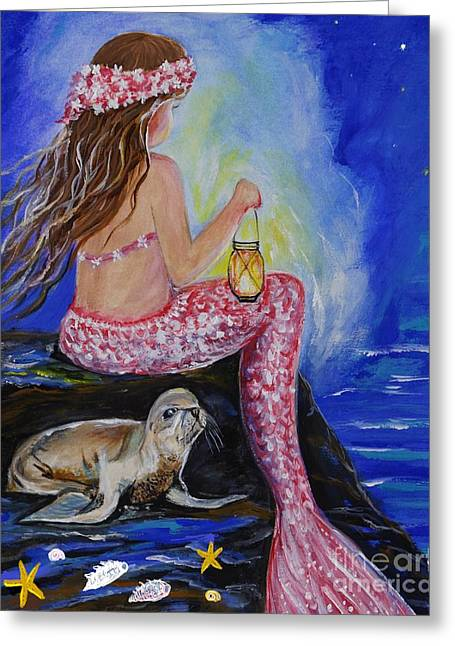 Recently Sold -  - Lions Greeting Cards - Little Mermaids Night Buddy Greeting Card by Leslie Allen