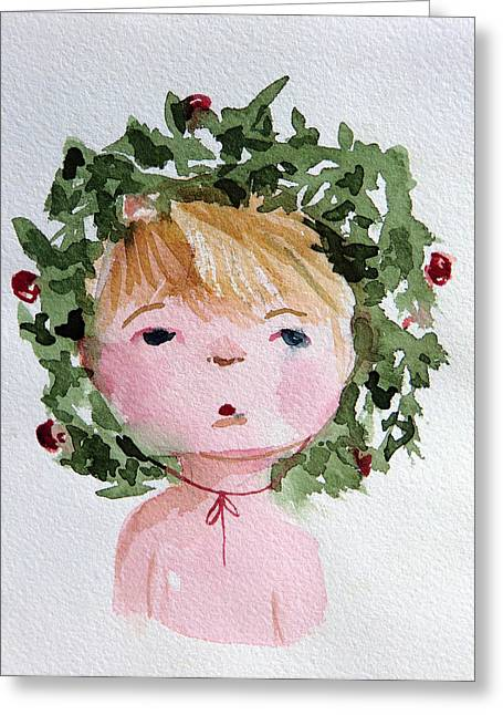 Little Miss Merry Greeting Card by Mindy Newman