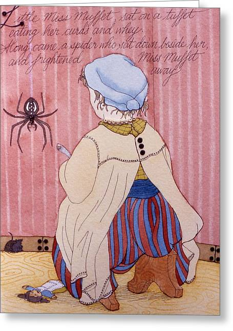 Muffet Greeting Cards - Little Miss Muffet Greeting Card by Victoria Heryet