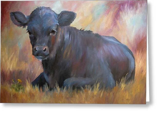 Angus Steer Greeting Cards - Little Moo  Angus calf painting southwest art Greeting Card by Kim Corpany