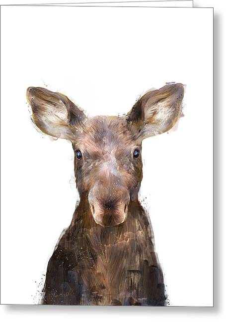 Little Mixed Media Greeting Cards - Little Moose Greeting Card by Amy Hamilton