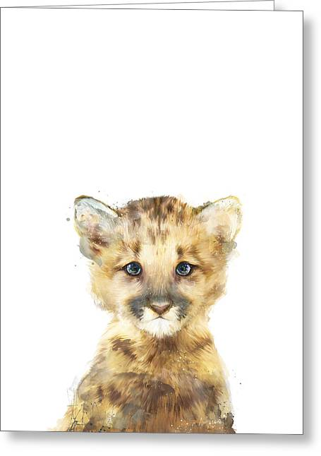 Little Mixed Media Greeting Cards - Little Mountain Lion Greeting Card by Amy Hamilton
