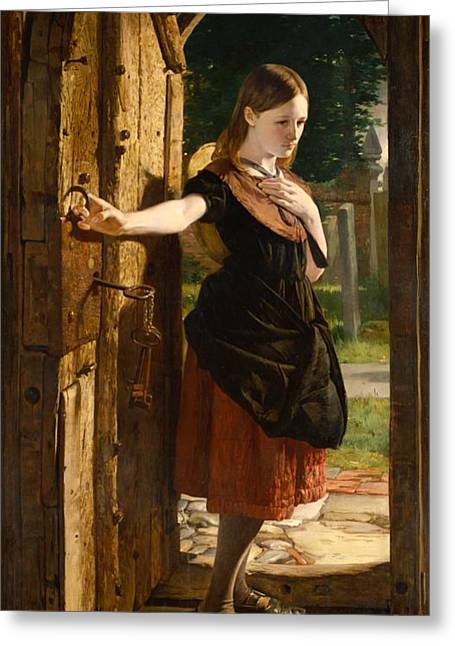 Old Doors Greeting Cards - Little Nell leaving the Church Greeting Card by James Lobley