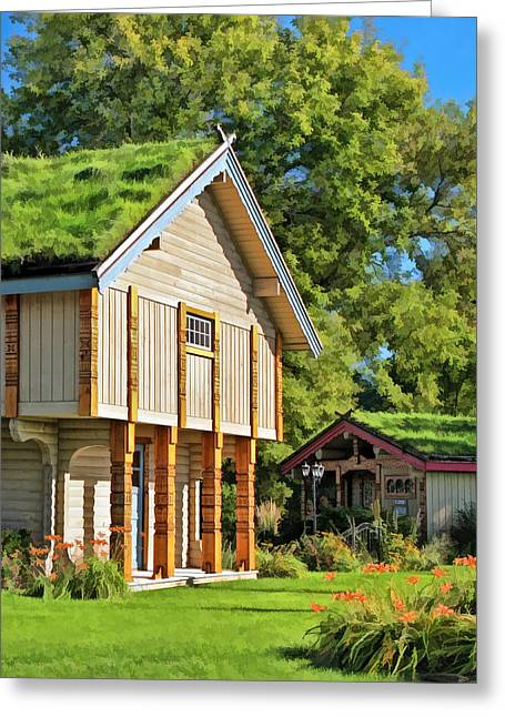 Log Cabins Greeting Cards - Little Norwegian Village on Washington Island in Door County Greeting Card by Christopher Arndt