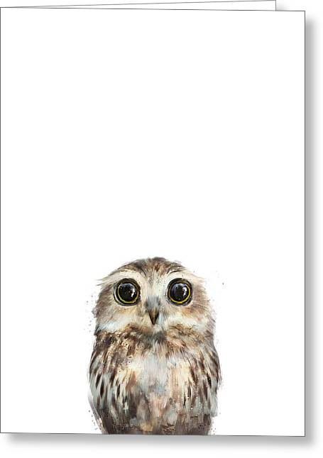 Little Mixed Media Greeting Cards - Little Owl Greeting Card by Amy Hamilton