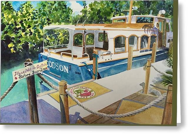 Woodson Greeting Cards - Little Palm Island Boat Launch Greeting Card by Brenda Ann