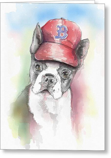 Boston Red Sox Mixed Media Greeting Cards - Little Papi... Greeting Card by Mark Tonelli