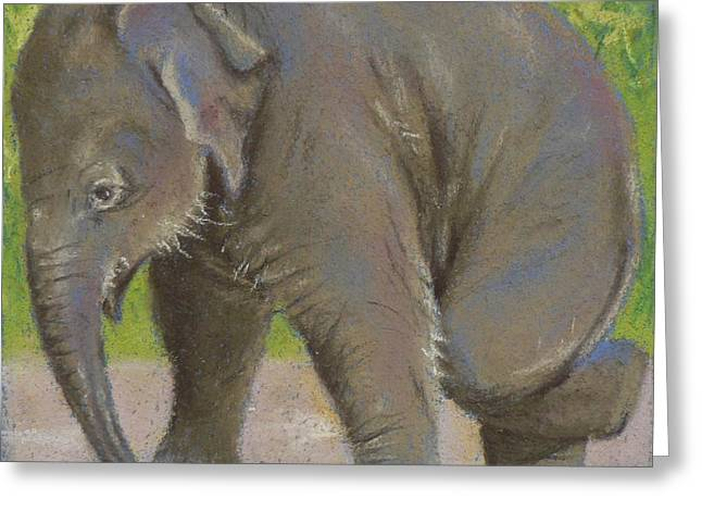 Elephant Pastels Greeting Cards - Little Pathi Harn Greeting Card by Louise Green