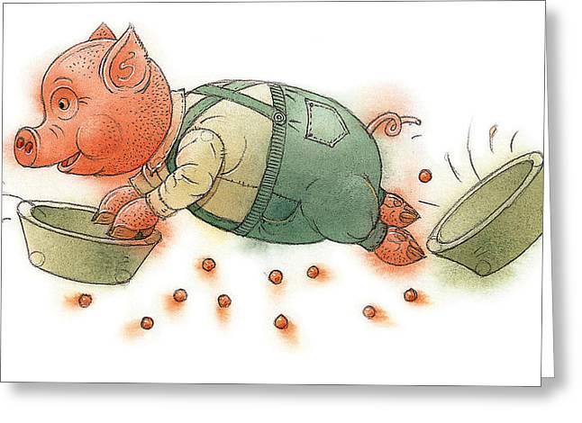 Dinner Greeting Cards - Little Pig Greeting Card by Kestutis Kasparavicius