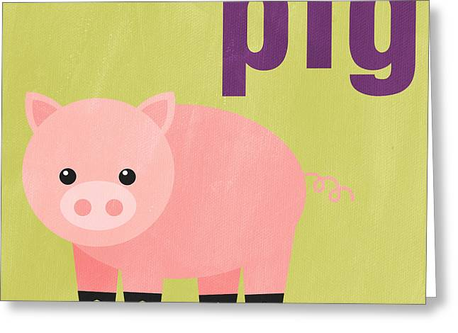 Purple Mixed Media Greeting Cards - Little Pig Greeting Card by Linda Woods