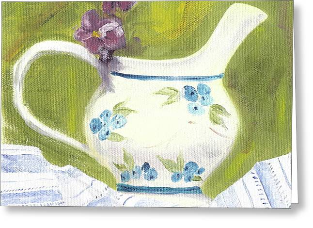 Best Sellers -  - Pottery Pitcher Greeting Cards - Little pitcher with pansies Greeting Card by Kathryn B