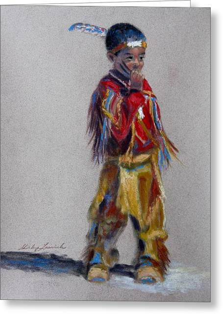 Wow Pastels Greeting Cards - Little Pow Wow Dancer 1 Greeting Card by Shirley Leswick