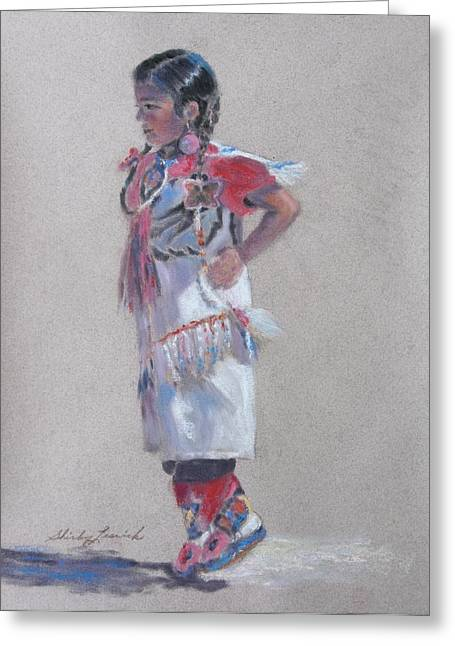Wow Pastels Greeting Cards - Little Pow Wow Dancer 2 Greeting Card by Shirley Leswick