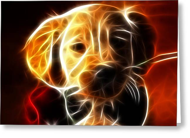 Puppies Mixed Media Greeting Cards - Little Puppy in Love Greeting Card by Pamela Johnson