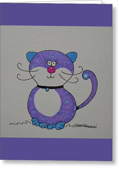 Kitten Prints Greeting Cards - Little Purple Kitty Cat Greeting Card by Sharon Bernacki