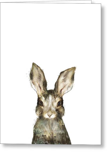 Little Mixed Media Greeting Cards - Little Rabbit Greeting Card by Amy Hamilton