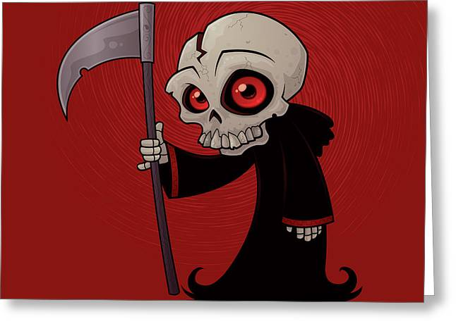 Grim Reaper Greeting Cards - Little Reaper Greeting Card by John Schwegel